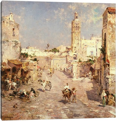 Figures in a Moorish Town  Canvas Art Print