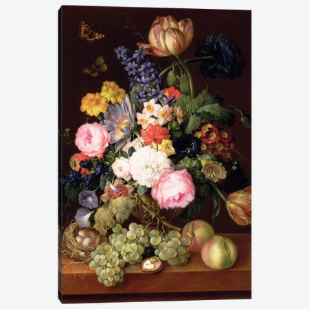 Flowers and fruit with a bird's nest on a Ledge, 1821  Canvas Print #BMN10281} by Franz Xavier Petter Canvas Print