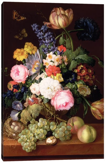 Flowers and fruit with a bird's nest on a Ledge, 1821  Canvas Art Print