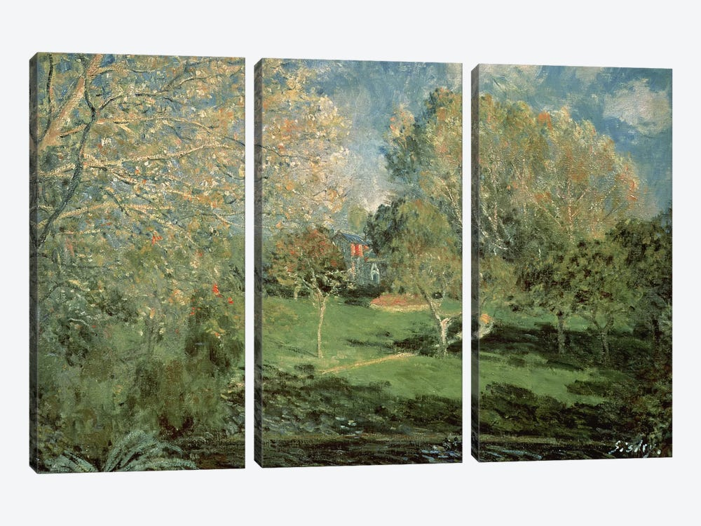 The Garden of Hoschede Family, 1881  by Alfred Sisley 3-piece Canvas Print