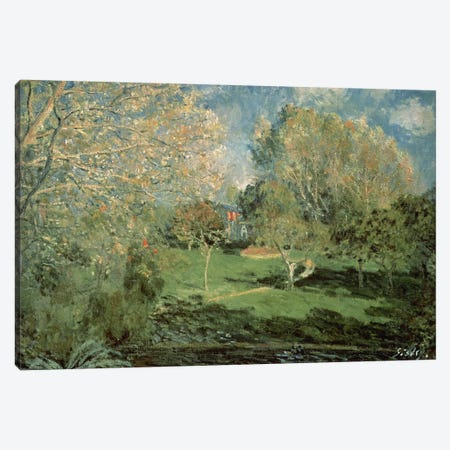 The Garden of Hoschede Family, 1881  3-Piece Canvas #BMN1028} by Alfred Sisley Canvas Wall Art
