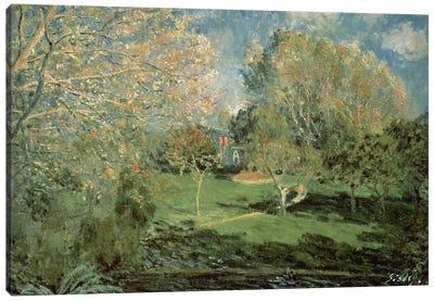 The Garden of Hoschede Family, 1881  Canvas Art Print