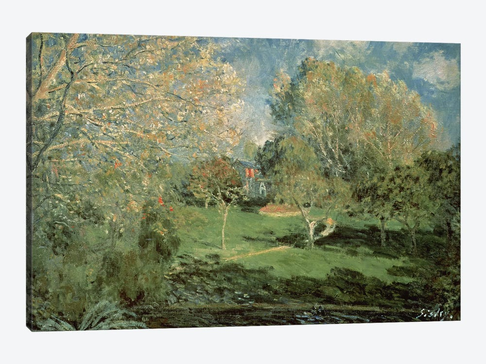 The Garden of Hoschede Family, 1881  by Alfred Sisley 1-piece Canvas Print