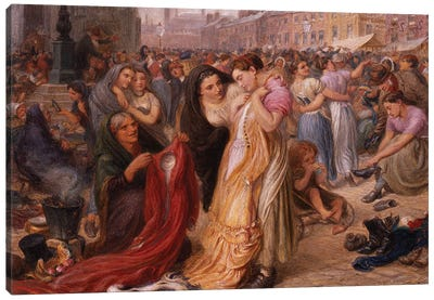 Factory Girls at the Old Clothes Fair, Knott Mill, 1875  Canvas Art Print
