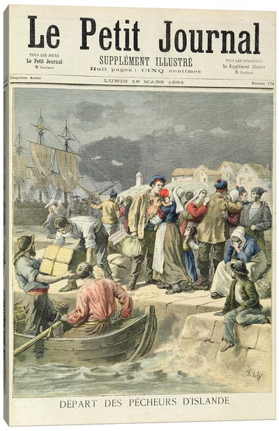 Departure of the Icelandic Fishermen, illustration from 'Le Petit Journal', 19th March 1894  Canvas Art Print