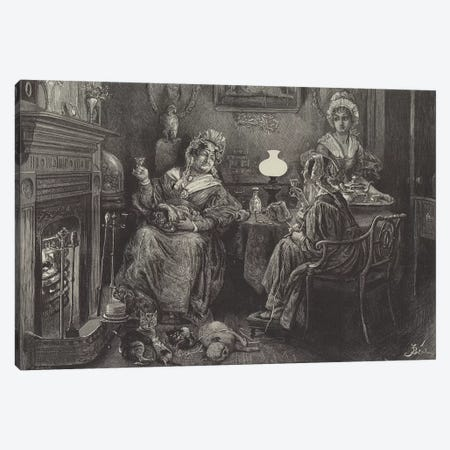 Cosy Old Maids' Christmas  Canvas Print #BMN10299} by Frederick Barnard Canvas Artwork