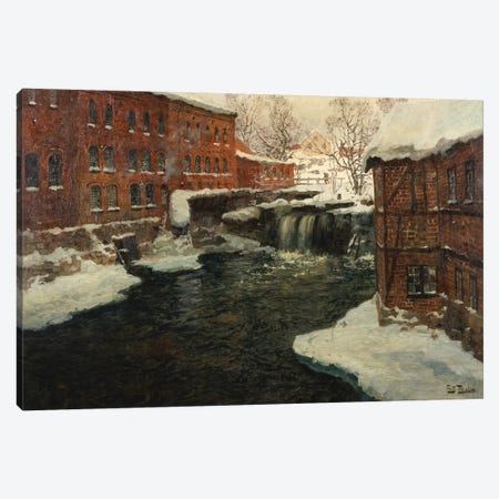 Mill Scene, c.1885-90  Canvas Print #BMN10314} by Fritz Thaulow Canvas Wall Art
