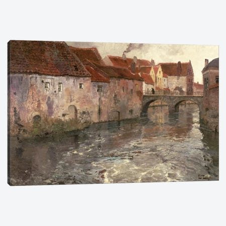The Bridge at Antwerp , 1902 Canvas Print #BMN10316} by Fritz Thaulow Canvas Artwork