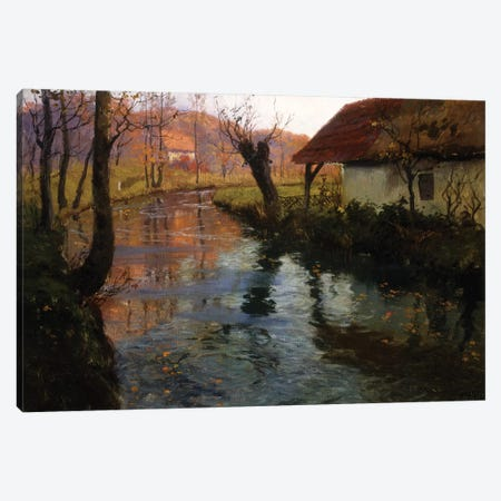 The Mill Stream  Canvas Print #BMN10317} by Fritz Thaulow Canvas Wall Art