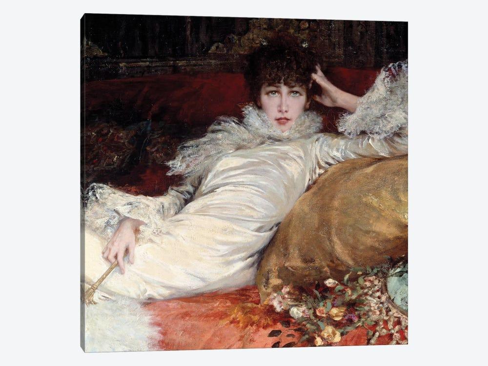 Sarah Bernhardt: portrait of comedian Sarah-Henriette Bernard called Sarah Bernhardt  by George Jules Victor Clairin 1-piece Canvas Art Print