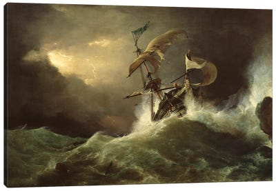 A First rate Man-of-War driven onto a reef of rocks, floundering in a gale  Canvas Art Print