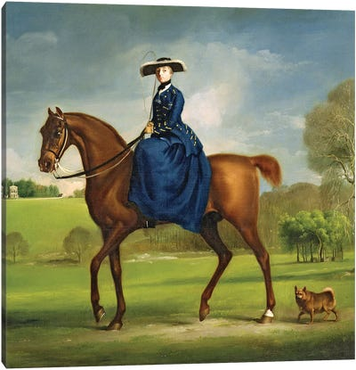 The Countess of Coningsby in the Costume of the Charlton Hunt, c.1760  Canvas Art Print