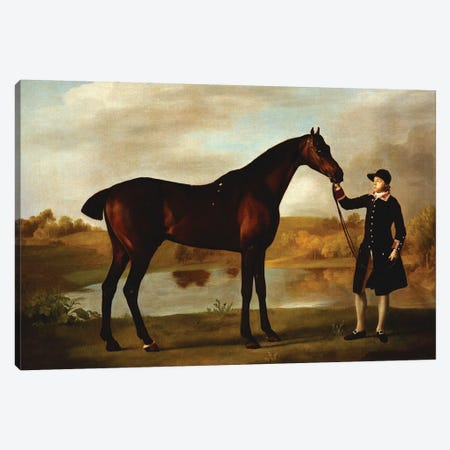 The Duke of Marlborough's  Bay Hunter, with a Groom in Livery in a Lake Landscape  Canvas Print #BMN10353} by George Stubbs Canvas Print