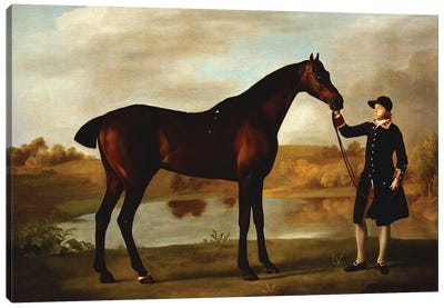 The Duke of Marlborough's  Bay Hunter, with a Groom in Livery in a Lake Landscape  Canvas Art Print
