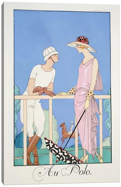 At the Polo, from 'Falbalas & Fanfreluches, Almanach des Modes Présentes, Passées et Futures', 1924  Canvas Art Print