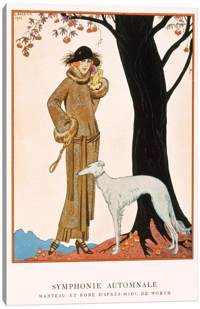 Autumnal Symphony, afternoon coat and dress by Worth, from 'Gazette de Bon Ton' No.9, 1922 Canvas Art Print
