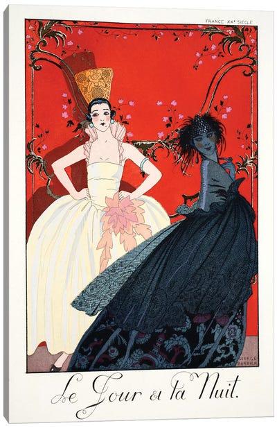 Day and Night, from 'Falbalas & Fanfreluches, Almanach des Modes Présentes, Passées et Futures', 1922  Canvas Art Print