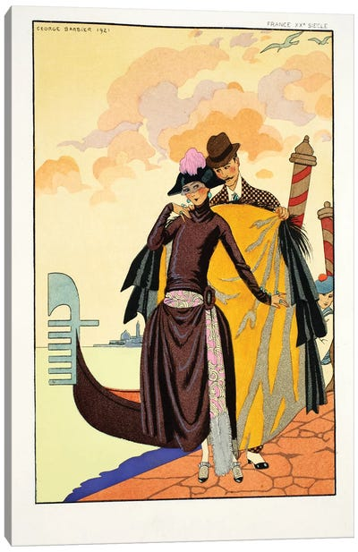 Her and Him, from 'Falbalas & Fanfreluches, Almanach des Modes Présentes, Passées et Futures', 1922  Canvas Art Print