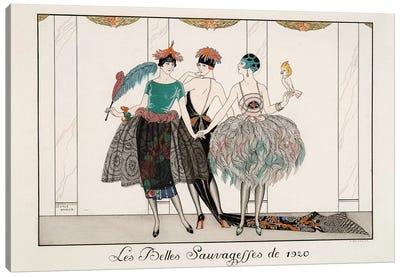 Les Belles Sauvagesses de 1920, engraving by H. Reidel, 1920  Canvas Art Print