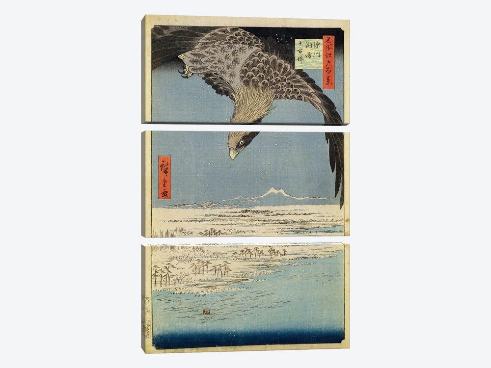 Fukagawa Susaki Jumantsubo (Fukagawa Susaki and Jumantsubo) by Utagawa Hiroshige 3-piece Canvas Wall Art