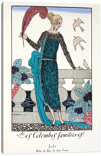 Les Colombes familieres - Jade - Evening gown de chez Jenny 1920,  Canvas Art Print