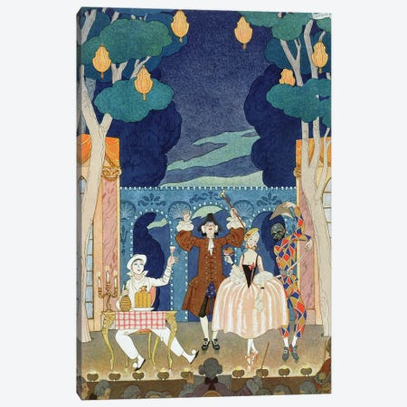 Pantomime Stage, illustration for 'Fetes Galantes' by Paul Verlaine  1924  Canvas Print #BMN10393} by George Barbier Canvas Print