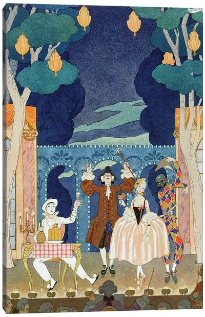 Pantomime Stage, illustration for 'Fetes Galantes' by Paul Verlaine  1924  Canvas Art Print