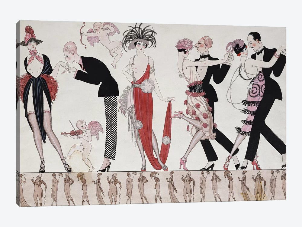 The Tango  by George Barbier 1-piece Canvas Artwork
