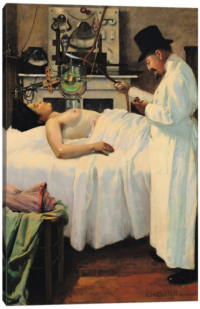 The First Attempt to Treat Cancer with X Rays by Doctor Chicotot, 1907  Canvas Art Print