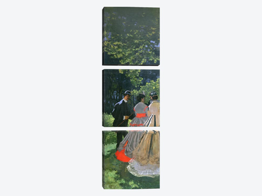 Dejeuner sur L'Herbe, Chailly, 1865 by Claude Monet 3-piece Canvas Artwork