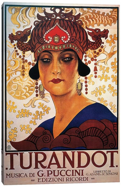 Poster for Turandot, opera by Giacomo Puccini  Canvas Art Print