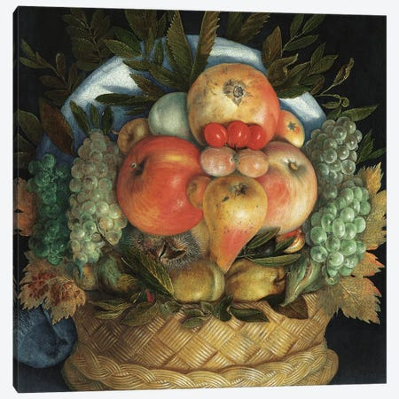 Reversible anthropomorphic portrait of a man composed of fruit  Canvas Print #BMN10431} by Giuseppe Arcimboldo Canvas Art