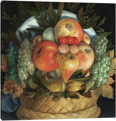 Reversible anthropomorphic portrait of a man composed of fruit  Canvas Art Print