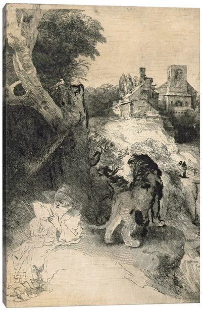 AD.12.39-376 St. Jerome in an Italian landscape Canvas Art Print