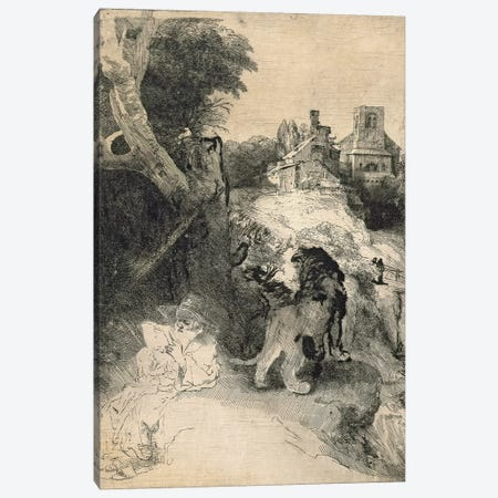 AD.12.39-376 St. Jerome in an Italian landscape Canvas Print #BMN1043} by Rembrandt van Rijn Canvas Artwork