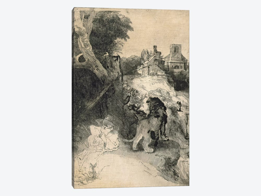 AD.12.39-376 St. Jerome in an Italian landscape by Rembrandt van Rijn 1-piece Canvas Art