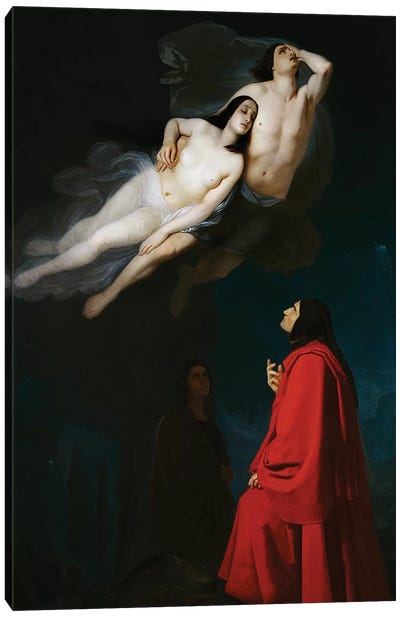Paolo and Francesca in conversation with Dante and Virgil Canvas Art Print