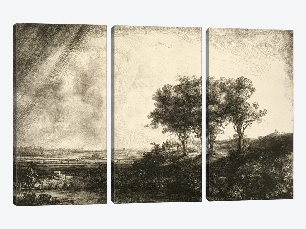 23.K5-292 The Three Trees  by Rembrandt van Rijn 3-piece Art Print