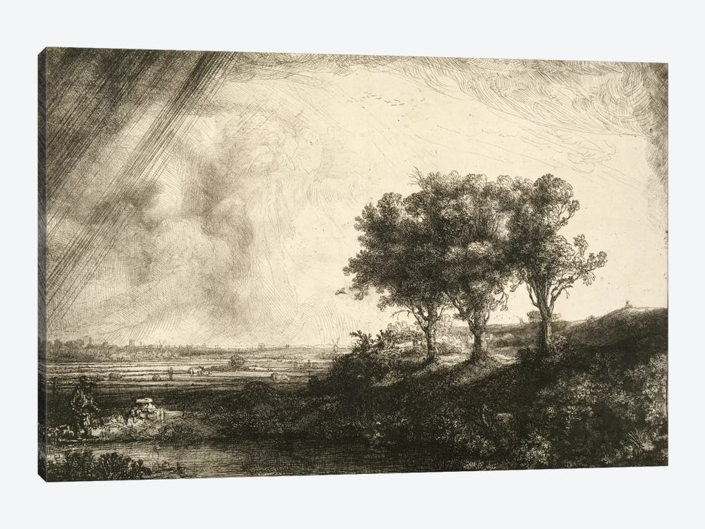 23.K5-292 The Three Trees  by Rembrandt van Rijn 1-piece Canvas Art Print