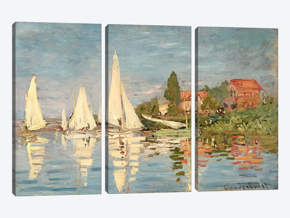 Regatta at Argenteuil, c.1872  by Claude Monet 3-piece Canvas Wall Art