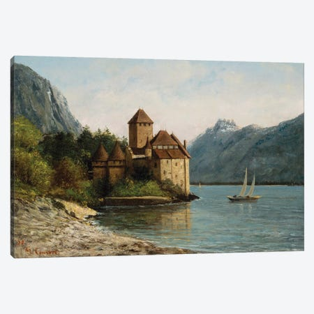The Castle of Chillon, Evening, c.1872  Canvas Print #BMN10464} by Gustave Courbet Canvas Art