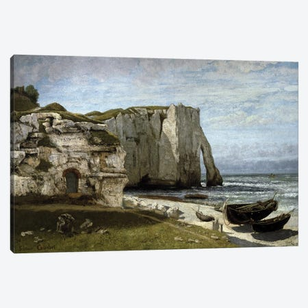 View of the cliffs of Etretat after the storm, Normandy Canvas Print #BMN10469} by Gustave Courbet Art Print