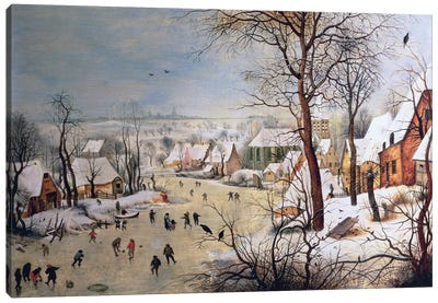 Winter Landscape with Birdtrap, 1601  Canvas Art Print