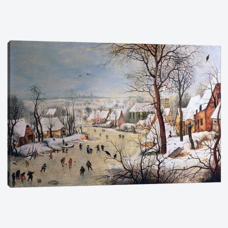 Winter Landscape with Birdtrap, 1601  Canvas Print #BMN1046} by Pieter Brueghel the Younger Canvas Art Print