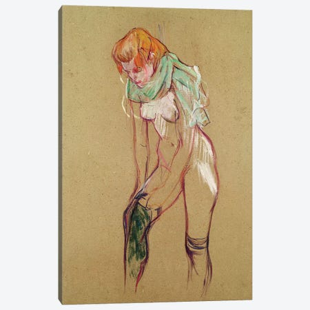 Woman Pulling Up her Stocking, 1894  Canvas Print #BMN10478} by Henri de Toulouse-Lautrec Canvas Art