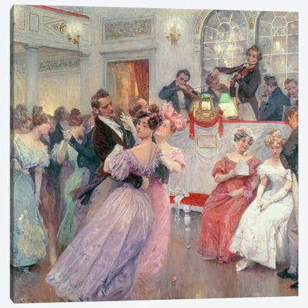 Strauss and Lanner - The Ball, 1906 Canvas Print #BMN1047} by Charles Wilda Canvas Art Print