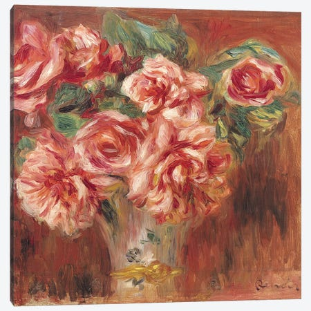 Roses in a Vase, c.1890  Canvas Print #BMN1048} by Pierre-Auguste Renoir Canvas Art