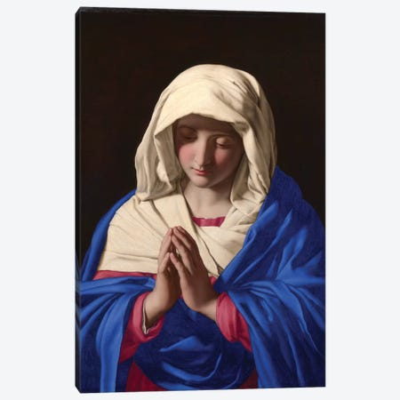 The Virgin in Prayer, 1640-50  Canvas Print #BMN10508} by Il Sassoferrato Canvas Art