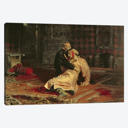 Ivan the Terrible and his Son on the 16th November, 1581, 1885  Canvas Print #BMN10514} by Ilya Efimovich Repin Canvas Artwork