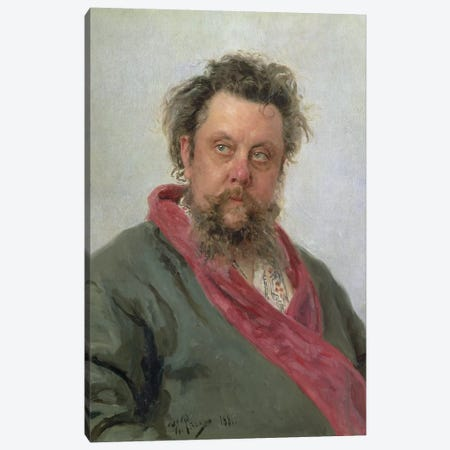Portrait of Modest Petrovich Moussorgsky  1881  Canvas Print #BMN10515} by Ilya Efimovich Repin Canvas Artwork